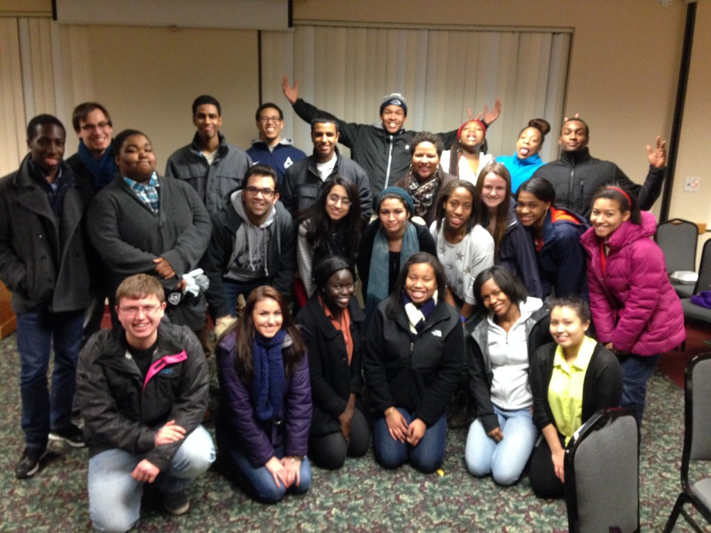 Saint Anselm Students get together after having a fulfilling meal at SNHU's Annual Soul Food Dinner.