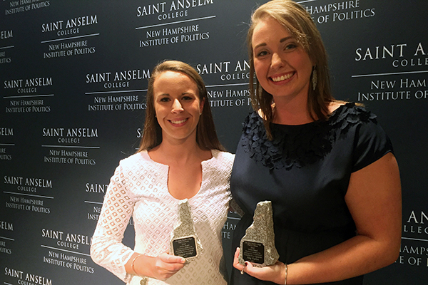 L-R: Maggie Walker and Amy Vachon receive Paul S. Coleman Awards.