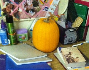 Pumpkin ready for carving in the dorm