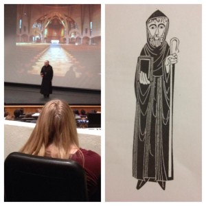 Abbot Matthew gives the humanities lecture at the Dana Center.