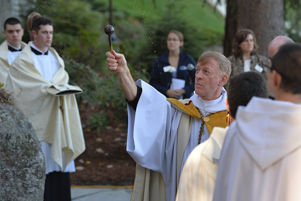 Abbot Mark at the Grotto blessing