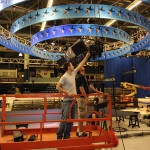 Workers construct the CNN debate set