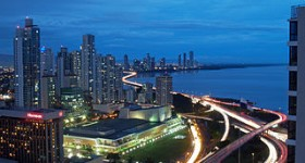 Panama city at night by SaavedraVS via Wikimedia