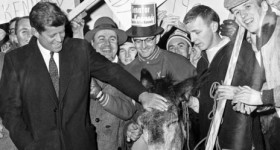John F. Kennedy is greeted by Saint Anselm College students