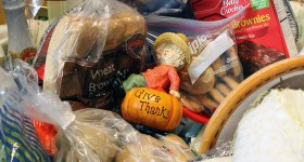 "One of the dozens of Thanksgiving baskets prepared annually carried a poignant message: ""give thanks"""