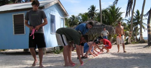 Students conduct an experiment during a previous Belize study trip