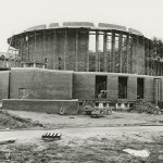 Construction of Abbey Church, exterior, undated